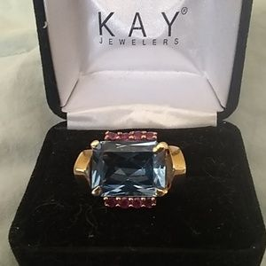 Ruby and blue topaz ring.14 kt.